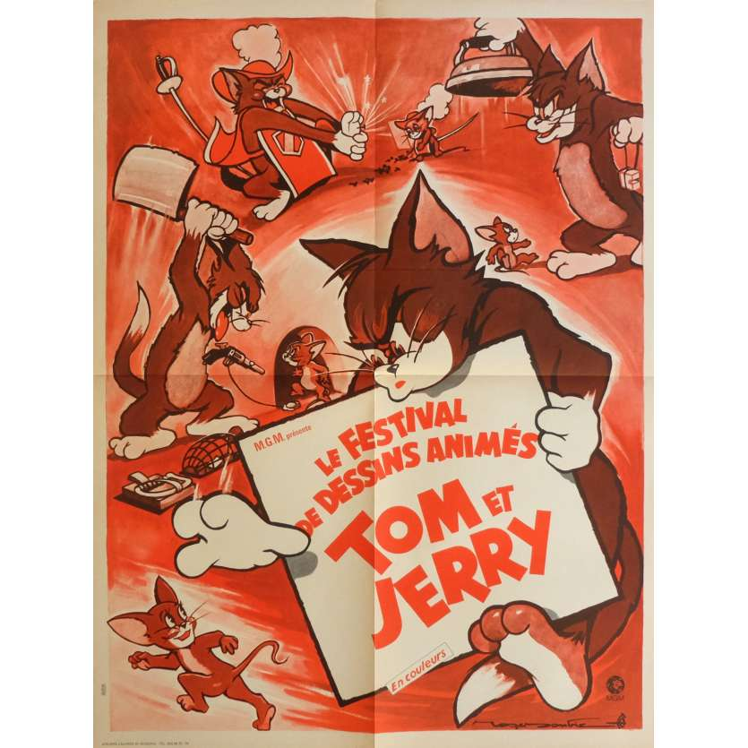 TOM AND JERRY CARTOON FESTIVAL Movie Poster 23x32 in. French - 1958 - Hanna Barbera, Roger Soubie