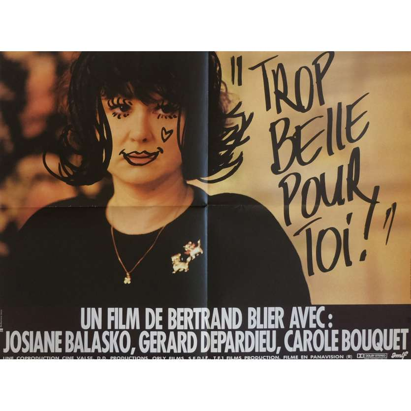 TOO BEAUTIFUL FOR YOU Movie Poster 23x32 in. French - 1989 - Bertrand Blier, Gérard Depardieu
