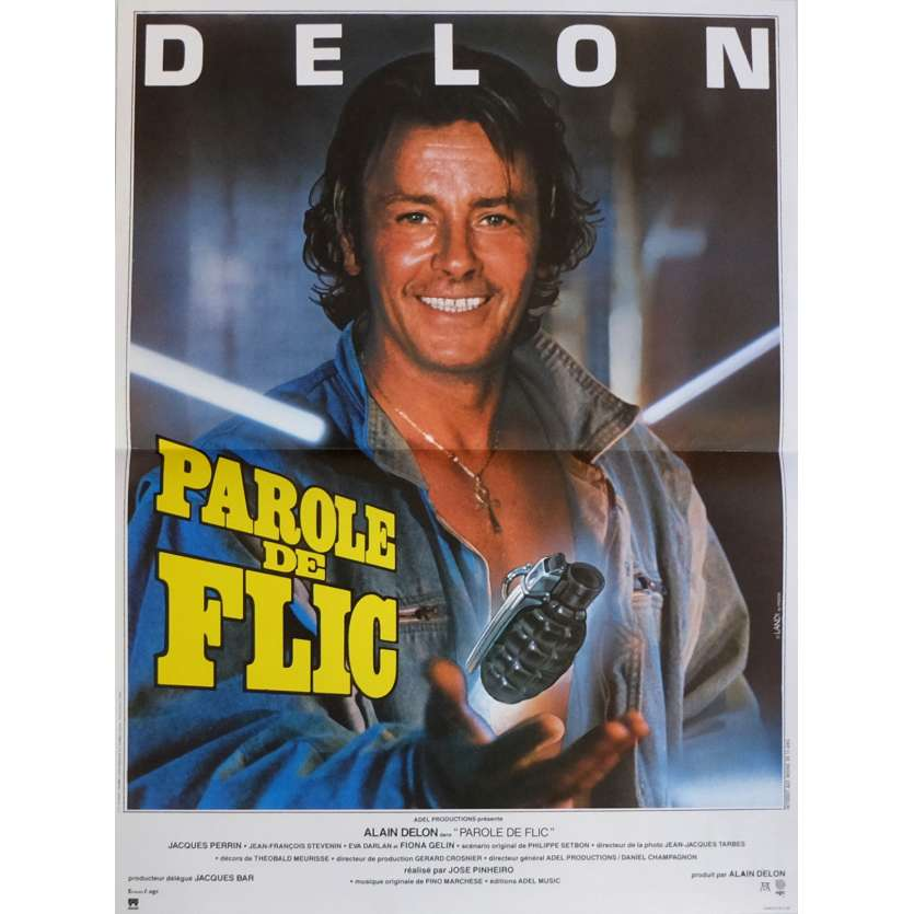 PAROLE DE FLIC Affiche de film 40x60 cm - 1985 - Alain Delon, José Pinheiro