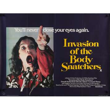 INVASION OF THE BODY SNATCHERS Movie Poster 30x40 in. British - 1978 - Philip Kaufman, Donald Sutherland