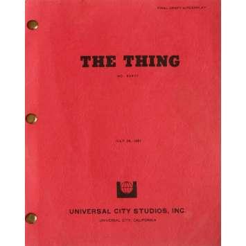 THE THING Movie Script 9x12 in. USA - 1982 - John Carpenter, Kurt Russel
