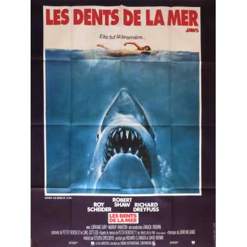 JAWS French 1p '75 art of Steven Spielberg classic man-eating shark attacking sexy swimmer!