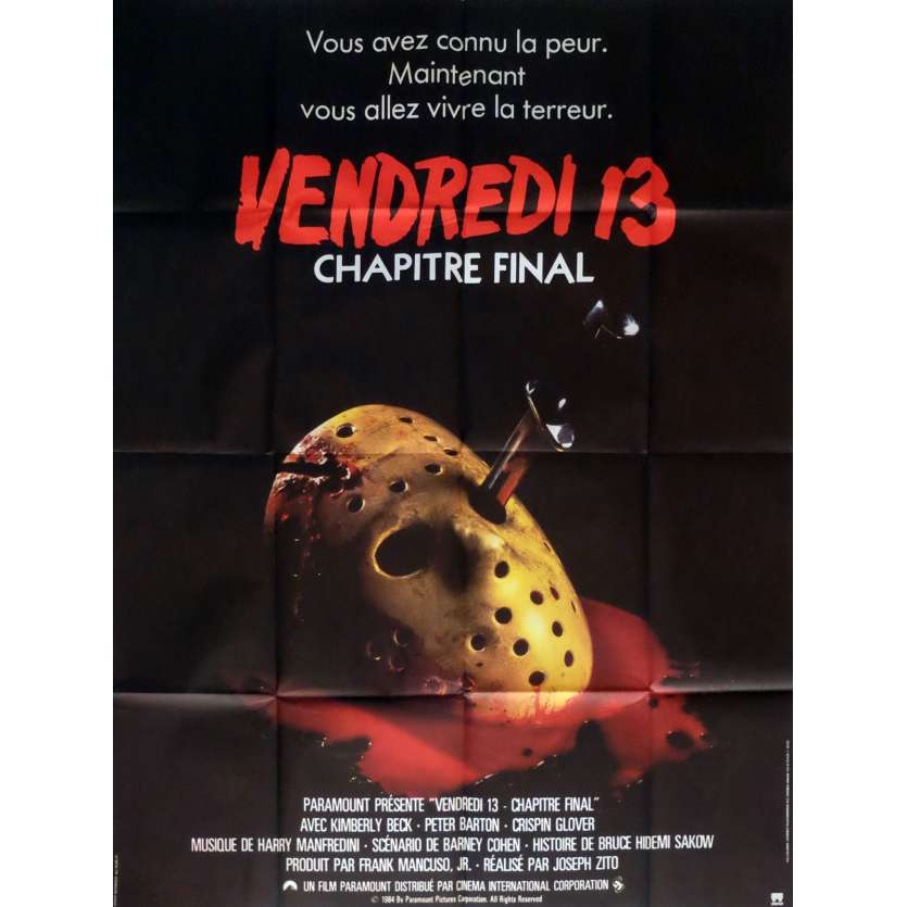 Friday THE 13TH THE FINAL CHAPTER Movie Poster 47x63 in. French - 1984 - Joseph Zito, Erich Anderson