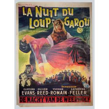 LA NUIT DU LOUP-GAROU Affiche de film 35x55 cm - 1961 - Oliver Reed, Terence Fisher