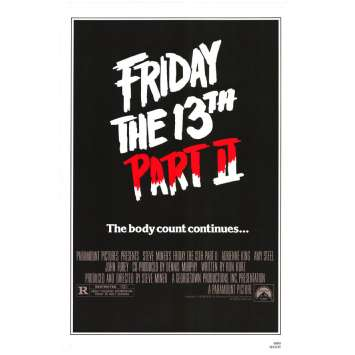 Friday THE 13TH Part II Movie Poster 29x41 in. USA - 1981 - Steve Miner, Betsy Palmer