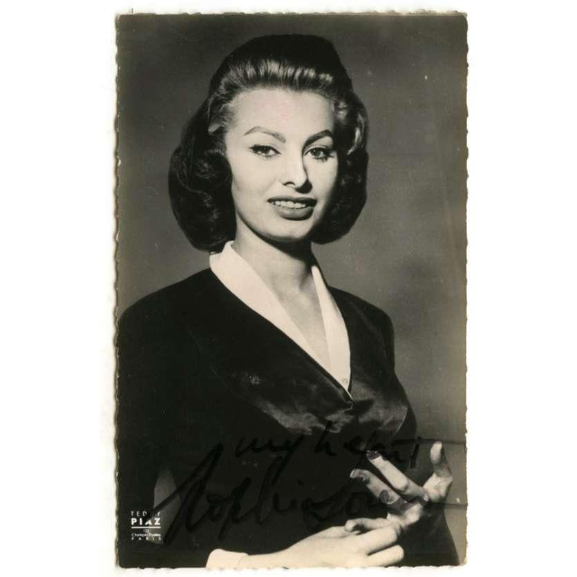 SOPHIA LOREN Carte Postale signée - 9x14 cm - 1960's