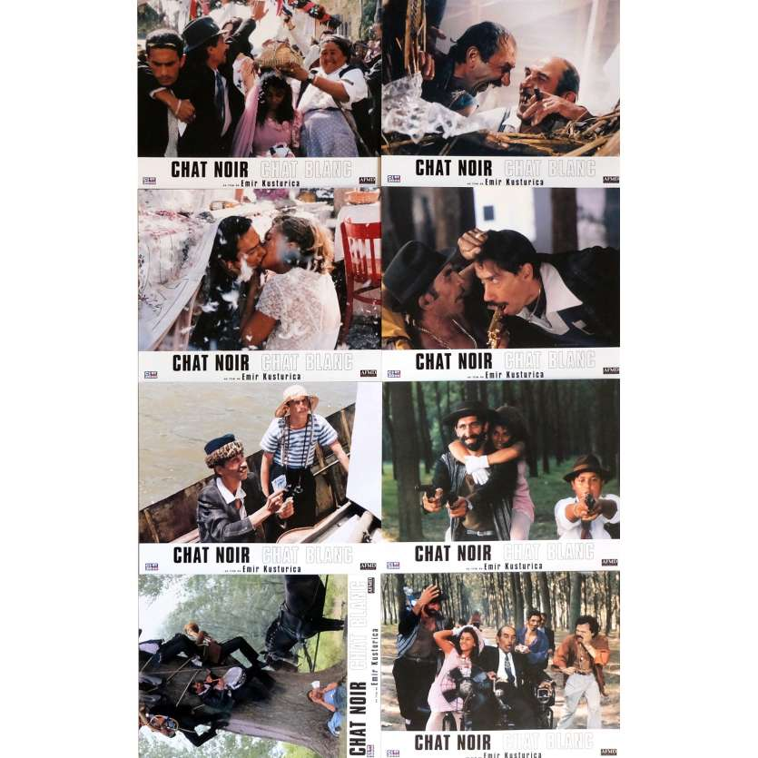 BLACK CAT WHITE CAT Lobby Cards 9x12 in. - 1998 - Emir Kusturica, Bajram Severdzan