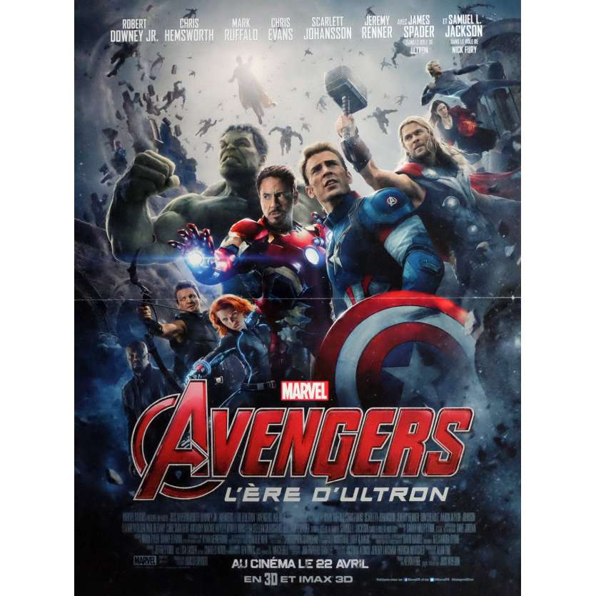 THE AVENGERS 2 L'AGE D'ULTRON Movie Poster 15x21 in. - 2015 - Joss Whedon, Robert Downey Jr.