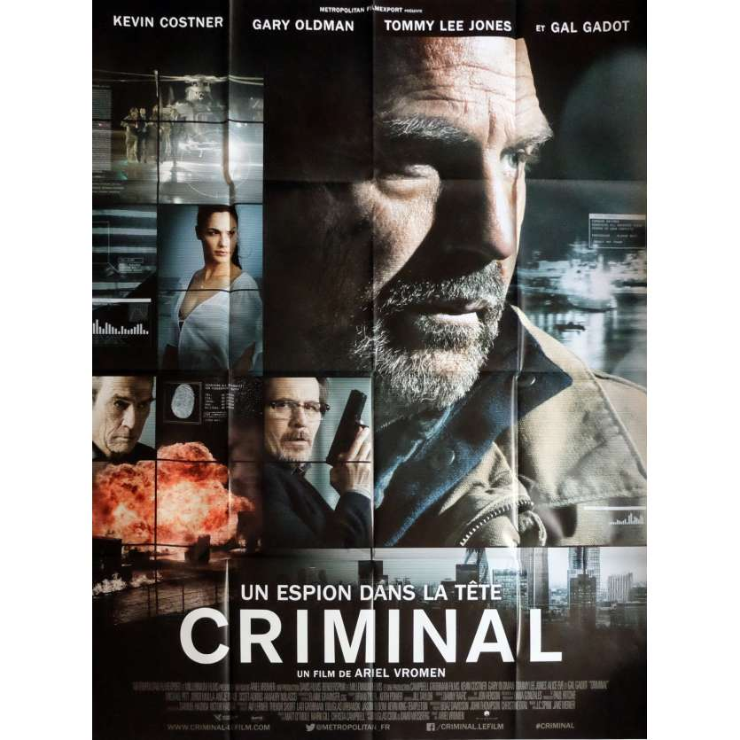 CRIMINAL Movie Poster 47x63 in. - 2016 - Ariel Vromen, Kevin Costner