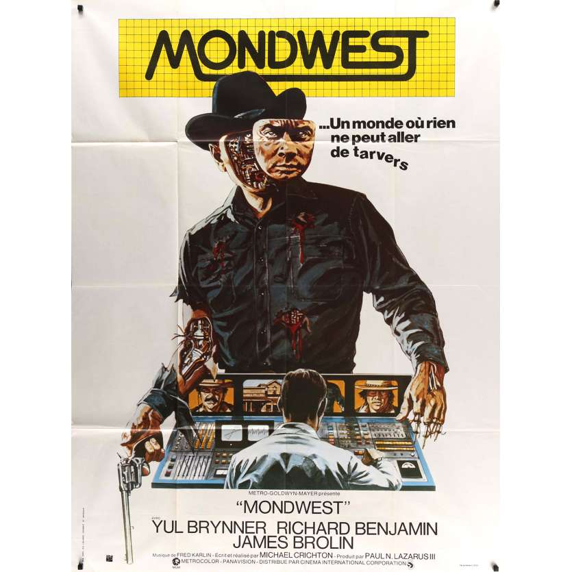 WESTWORLD Movie Poster 47x63 in. - 1973 - Michael Crichton, Yul Brynner