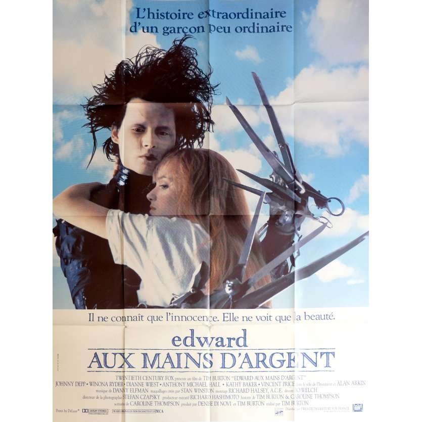 EDWARD SCISSORHANDS French Movie Poster 47x63 '90 Tim Burton, Johnny Deep