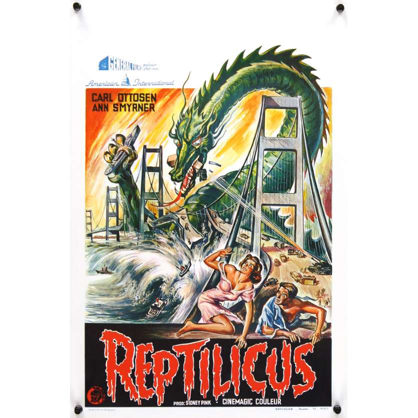 REPTILICUS Belgian '62 indestructible 50 million year-old giant lizard destroys bridge!