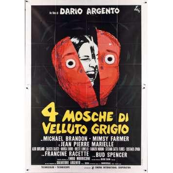 4 MOUCHES DE VELOURS GRIS Affiche de film 140x200 IT '71 Dario Argento