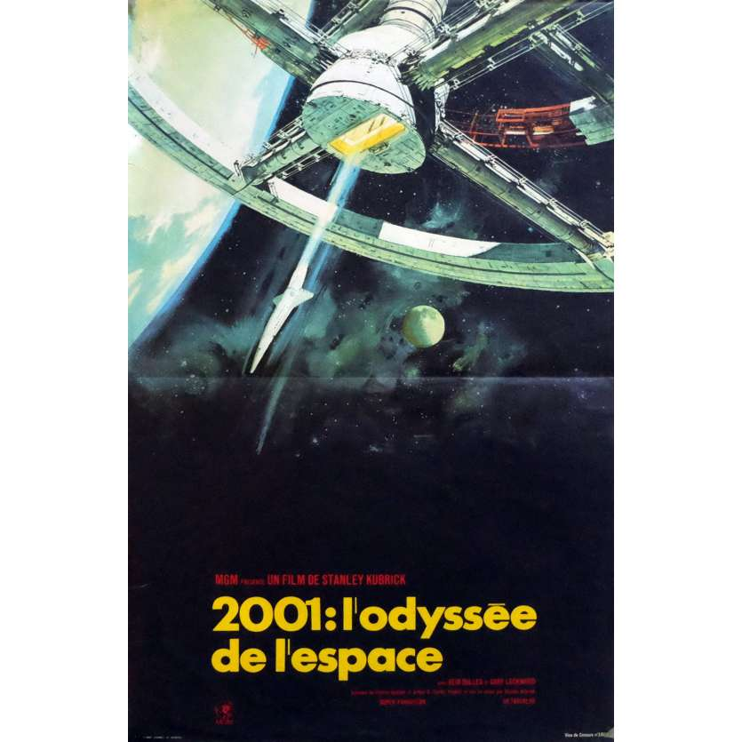2001 A SPACE ODYSSEY French Movie Poster 15x21 - R1970 - Stanley Kubrick, Keir Dullea