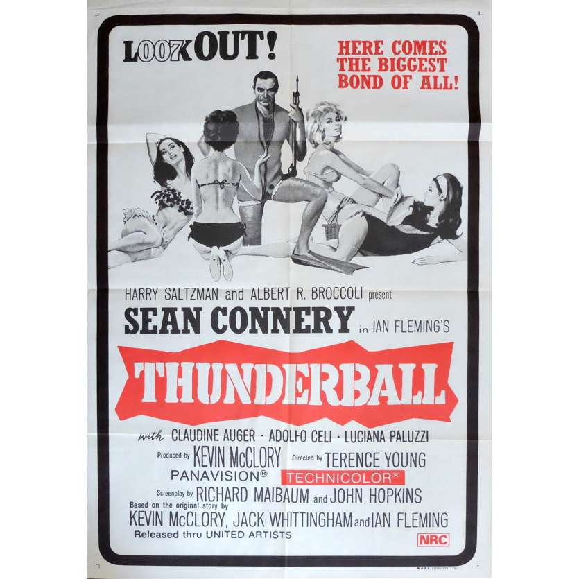 THUNDERBALL Movie Poster 29x40 in. - R1970 - James Bond, Sean Connery