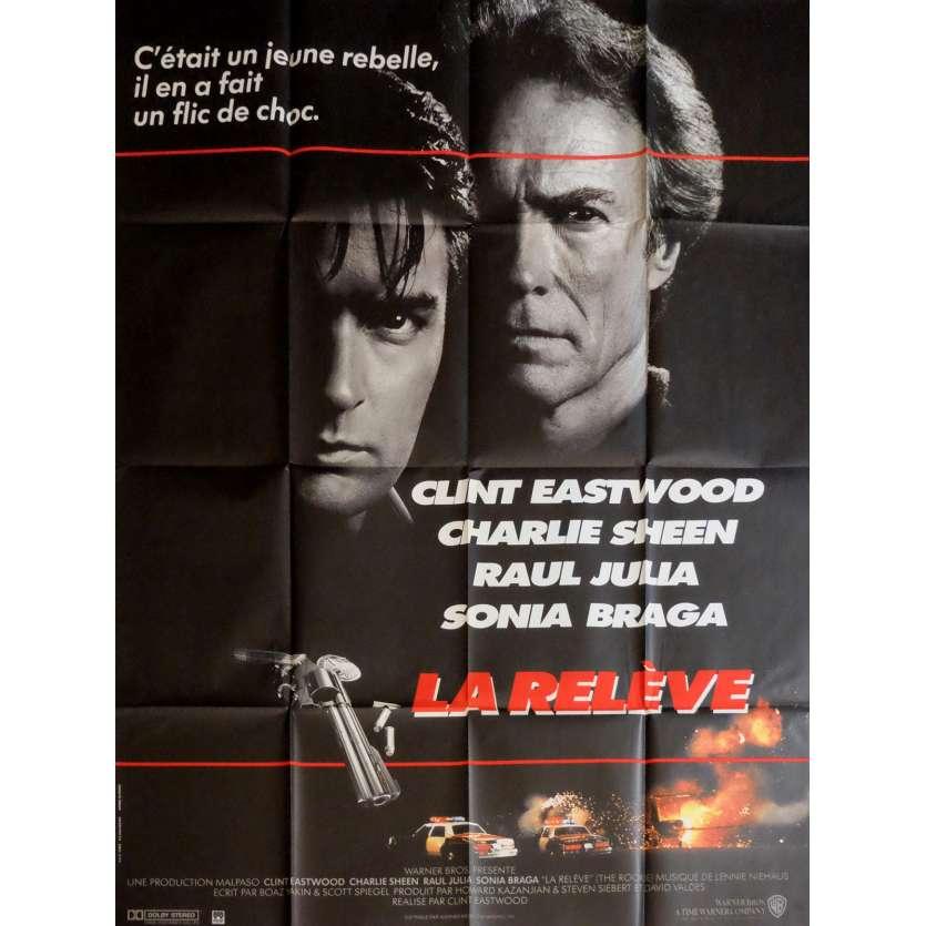 LA RELEVE Affiche de film 120x160 cm - 1990 - Charlie Sheen, Clint Eastwood