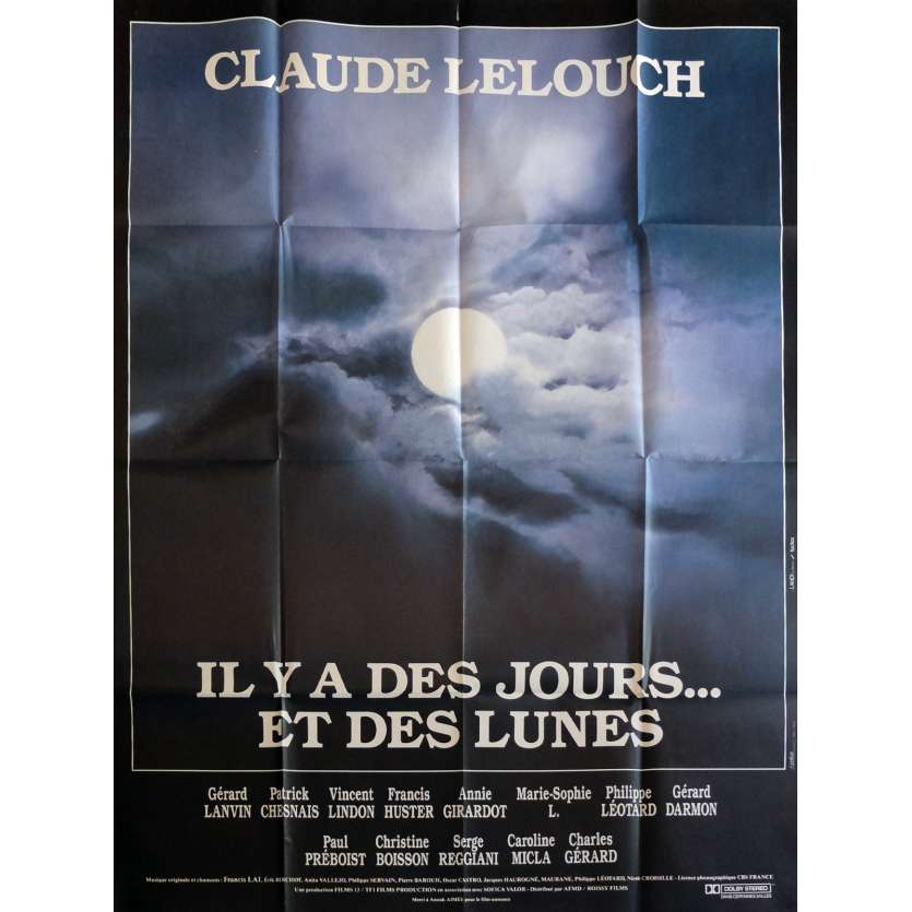 THERE WERE DAYS AND MOONS Movie Poster 47x63 in. - 1990 - Claude Lelouch, Gérard lanvin