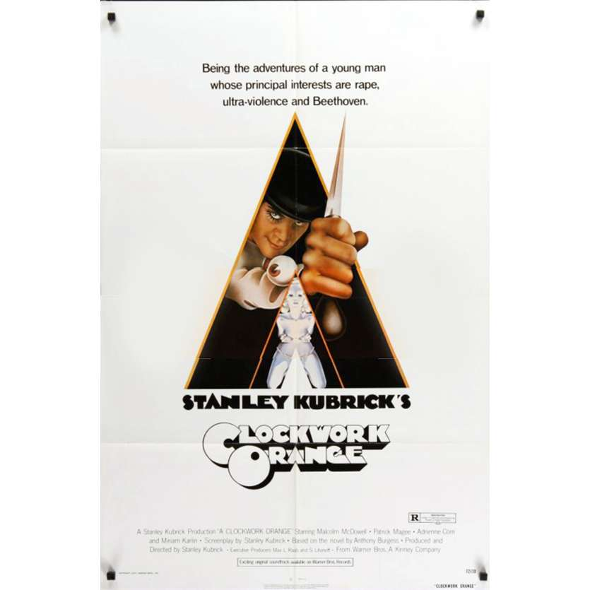 ORANGE MECANIQUE Affiche de film 69x104 - 1972 - Malcom Mc Dowell, Stanley Kubrick