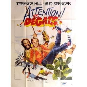 ATTENTION LES DEGATS Affiche de film 120x160 cm - 1984 - Terence Hill, Bud Spencer, Enzo Barboni
