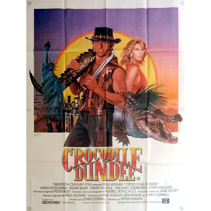 CROCODILE DUNDEE Affiche de film 120x160 cm - 1986 - Paul Hogan, Peter Faiman
