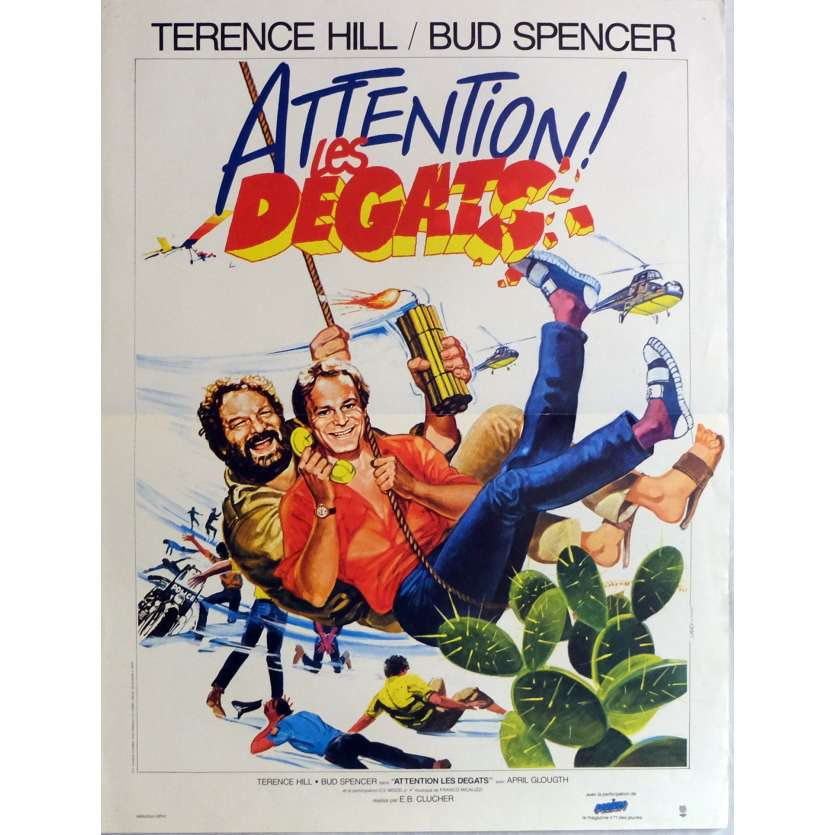 ATTENTION LES DEGATS Affiche de film 40x60 cm - 1984 - Terence Hill, Bud Spencer, Enzo Barboni