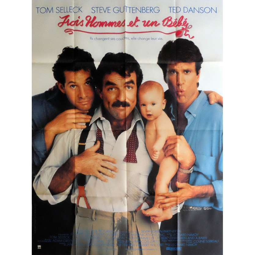 TROIS HOMMES ET UN BEBE Affiche de film 120x160 cm - 1987 - Tom Selleck, Leonard Nimoy