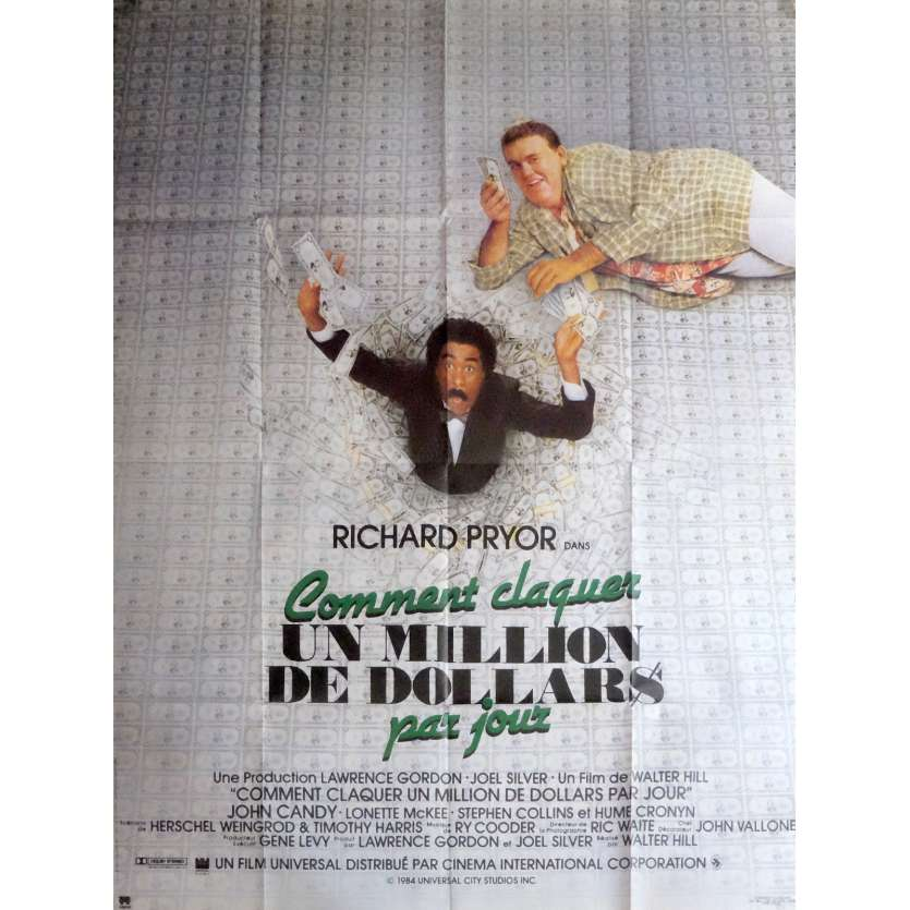 COMMENT CLAQUER UN MILLION DE DOLLARS PAR JOUR Affiche de film 120x160 cm - 1985 - Richard Pryor, Walter Hill