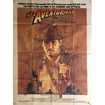 RAIDERS OF THE LOST ARK French 1p '81 great art of adventurer Harrison Ford by Richard Amsel!