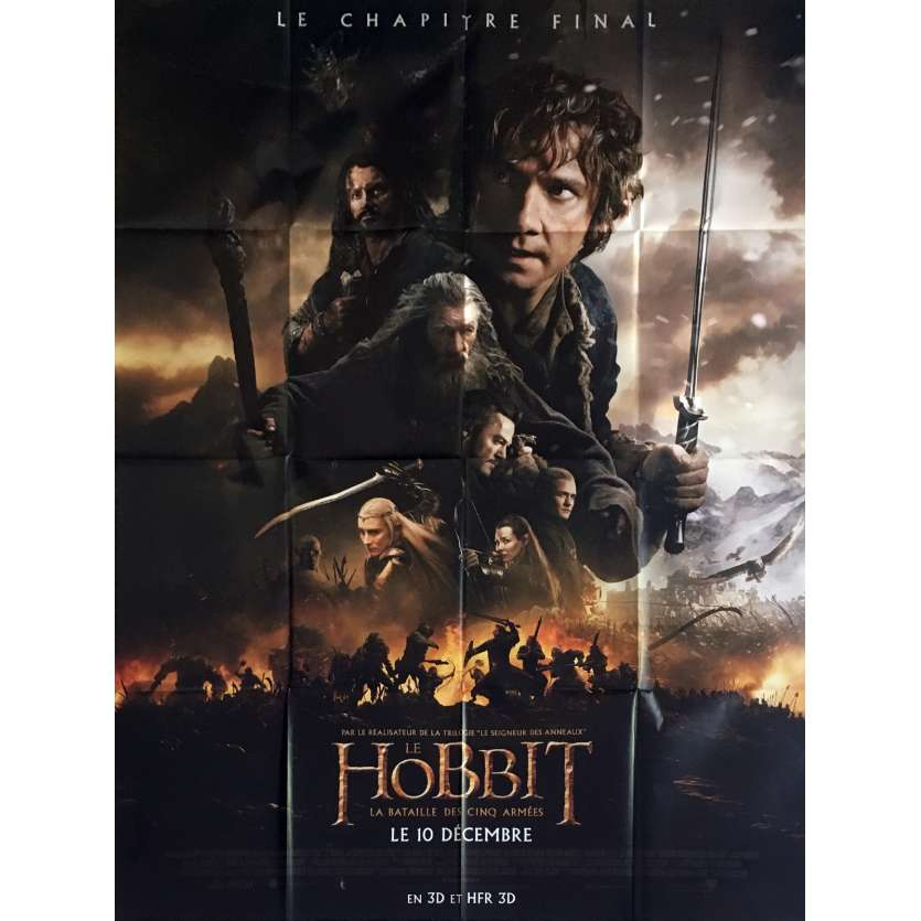 THE HOBBIT 3 Mod. A French Movie Poster 47x63 - 2014 - Peter Jackson, Ian McKellen