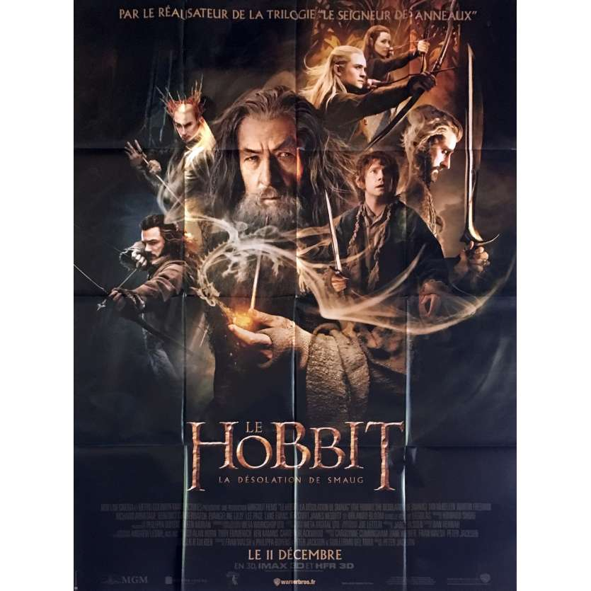 HOBBIT, DESOLATION OF SMAUG French Movie Poster 47x63- 2013 - Peter Jackson, Ian McKellen