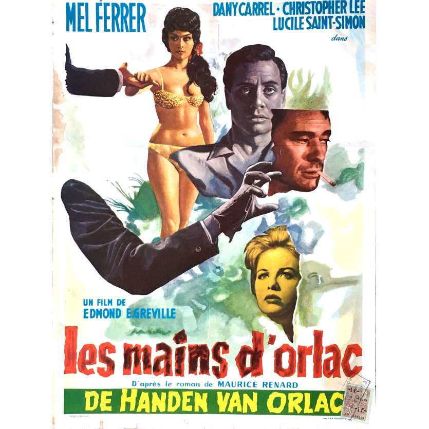 THE HANDS OF ORLAC Movie Poster 14x21 in. - 1960 - Edmond T. Gréville, Mel Ferrer