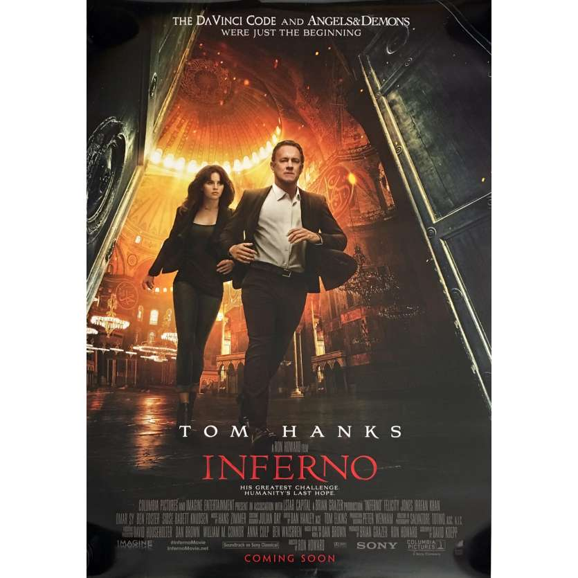 INFERNO Affiche de film DS 69x102 cm - 2016 - Ron Howard, Tom Hanks, Da Vinci