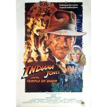 INDIANA JONES AND THE TEMPLE OF DOOM Movie Poster Style B 29x41 in. - 1984 - Steven Spielberg, Harrison Ford