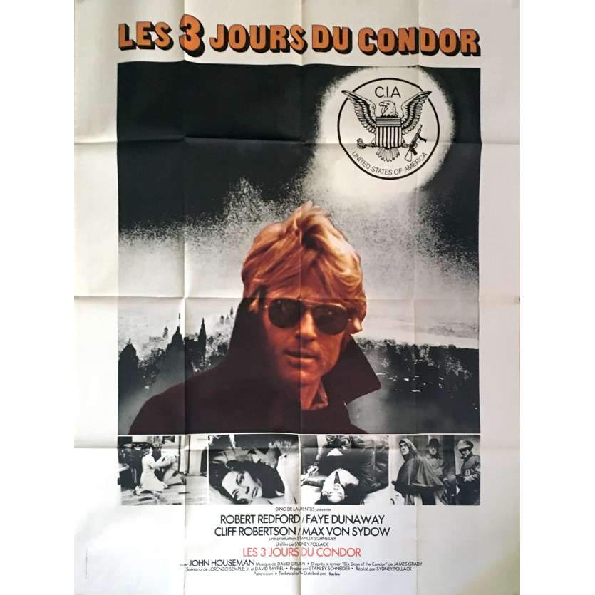 THREE DAYS OF THE CONDOR French Movie Poster 47x63 - 1975 - Sidney Pollack, Robert Redford