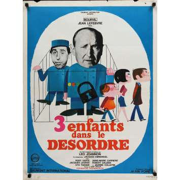 THREE DISORDERED CHILDREN Movie Poster 23x32 in. - 1966 - Leo Joannon, Bourvil
