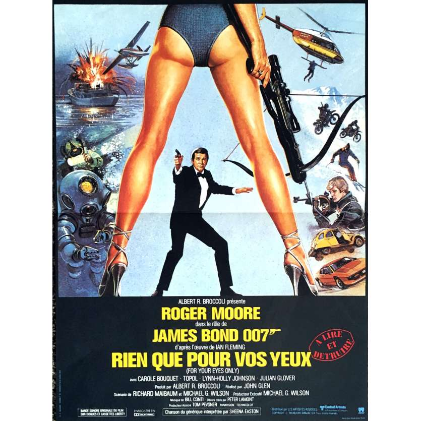 JAMES BOND Rien que pour vos yeux Affiche 40x60 FR '81 R. Moore 007 Movie Poster