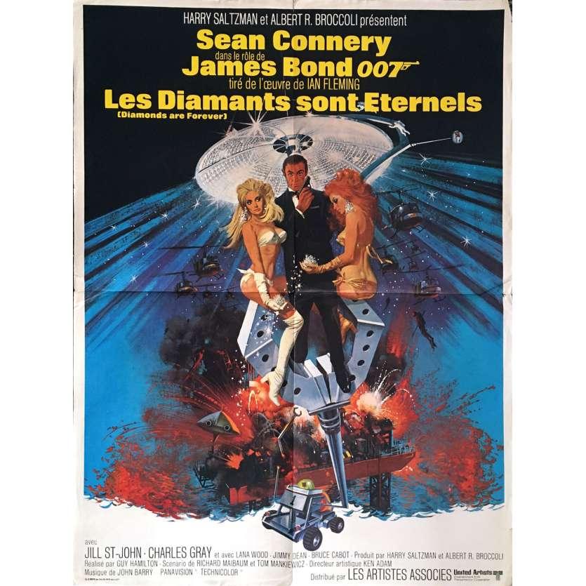 LES DIAMANTS SONT ETERNELS Affiche de film 60x80 - 1971 - James Bond