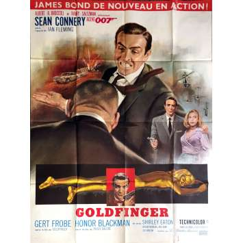 JAMES BOND Goldfinger French Movie Poster 47x63 R70 S. Connery 007