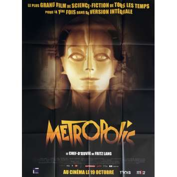 METROPOLIS Movie Poster 47x63 in. - R1980 - Fritz Lang, Brigitte Helm