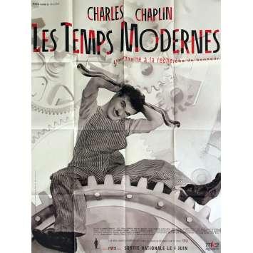 MODERN TIMES Movie Poster 47x63 in. - R1980 - Charles Chaplin, Charlie Chaplin