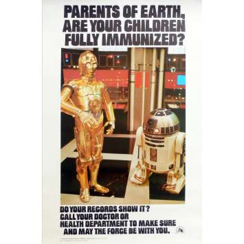 STAR WARS HEALTH DEPARTMENT POSTER special 14x22 '77 C3P0 & R2D2