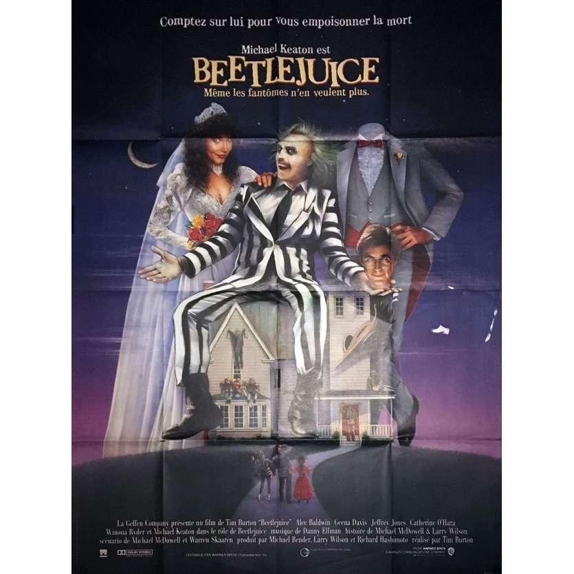 BEETLEJUICE Affiche de film 120x160 - 1988 - Michael Keaton, Tim Burton