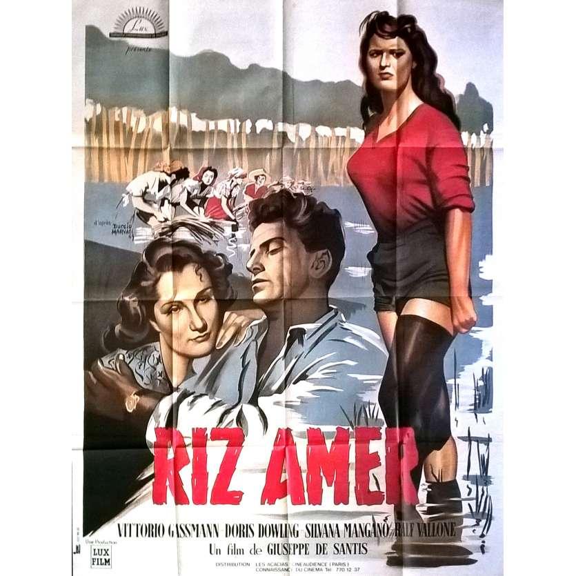 BITTER RICE Movie Poster 47x63 in. French - R1980 - Giuseppe de Santis, Silvana Mangano