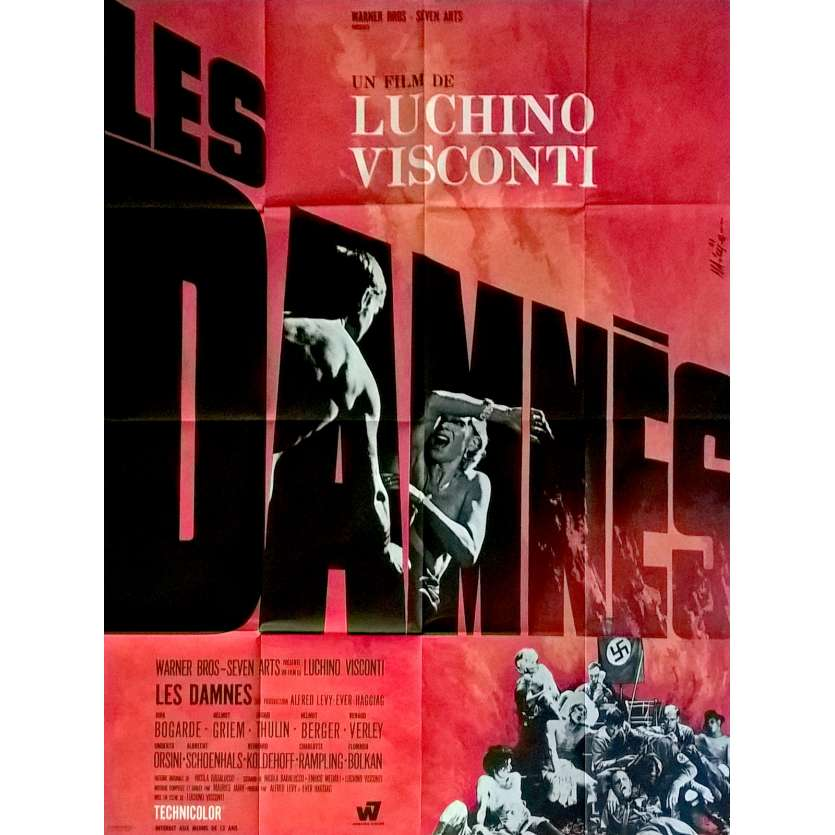 THE DAMNED French Movie Poster 47x63 - 1969 - Luchino Visconti, Dirk Bogarde
