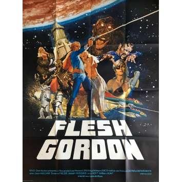 FLESH GORDON Affiche de film 120x160 cm - 1974 - Jason Williams, Michael Benveniste