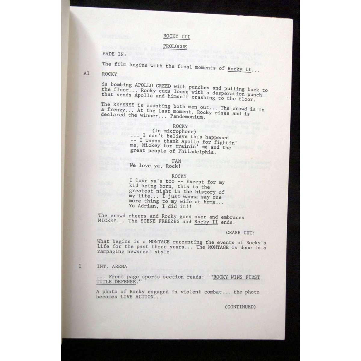 Movie Poster vintage japanese movie posters : ROCKY III Original Vintage Movie Script