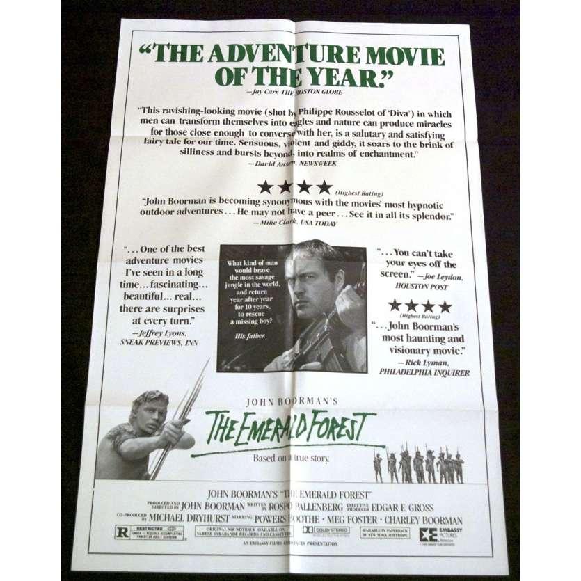 LA FORÊT D'EMERAUDE Affiche US '85 John Boorman, Powers Boothe, Vintage Movie Poster