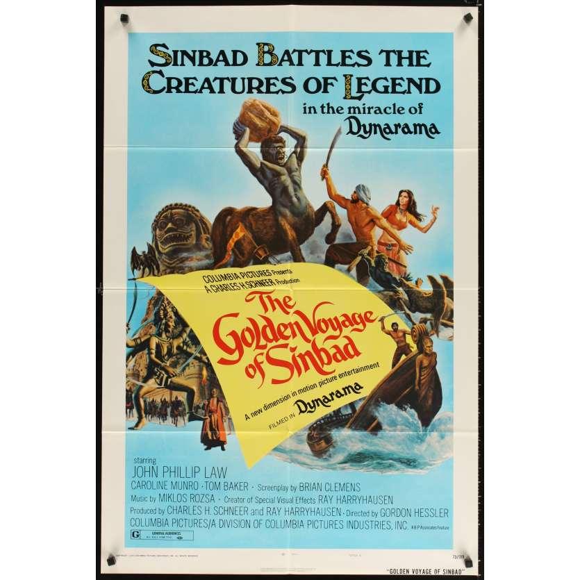 VOYAGE FANTASTIQUE DE SINBAD Affiche US '73, Ray Harryhausen Movie Poster
