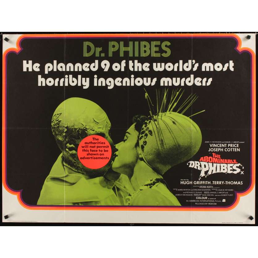 ABOMINABLE DR. PHIBES British Movie Poster quad '71 Vincent Price Robert Fuest