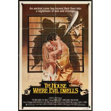 HOUSE WHERE EVIL DWELLS 1sh movie poster '82 art of sexy lovers about to be sliced in half by John Solie
